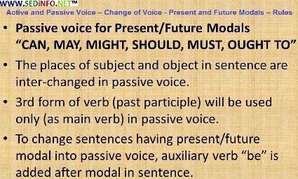 Active and Passive Voice – Change of Voice - Present and Future Modals – Rules
