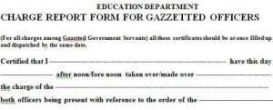 Joining Report Form for Gazetted Officers