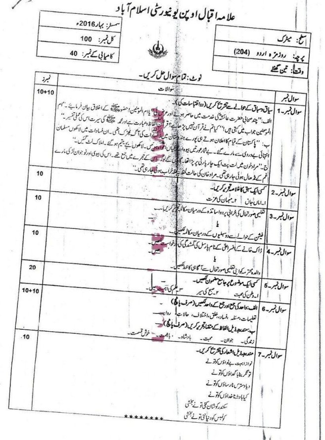 Urdu Code 204 Autumn 2010 AIOU Past Papers
