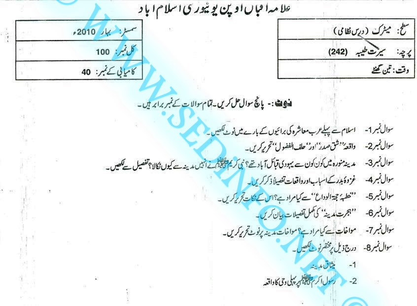 Matric-Code-242-AIOU-Past-Papers-Spring-2010