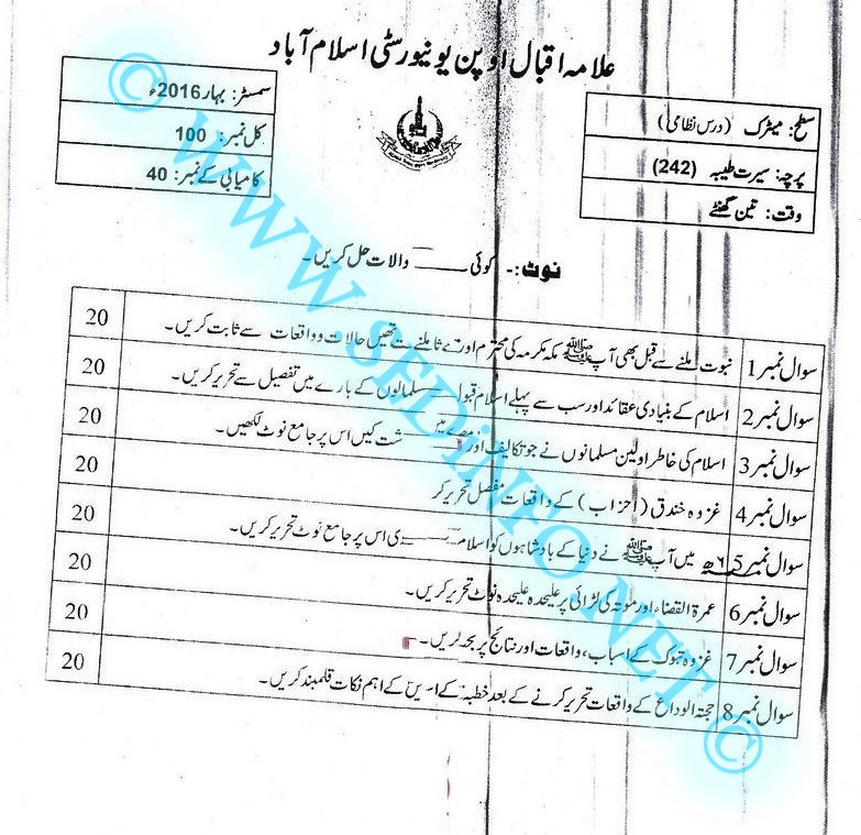 Matric-Code-242-AIOU-Past-Papers-Spring-2016