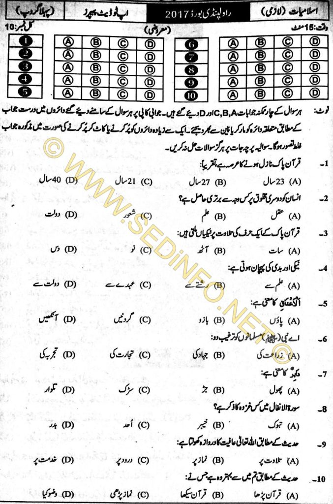 Rawalpindi-Board-Past-Paper-Objective-2017