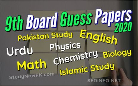 9th Class Exam Guess Papers Latest 2020