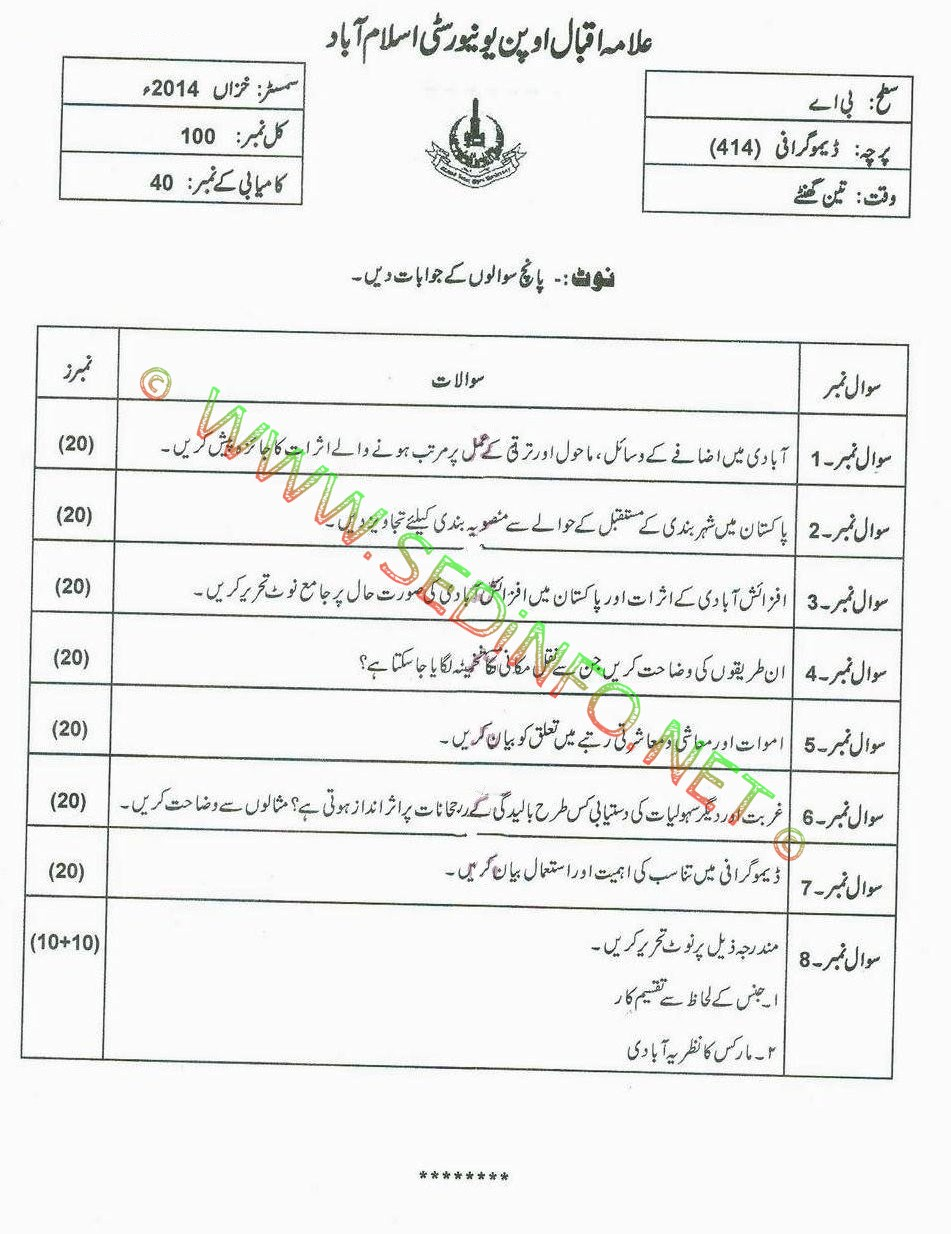 AIOU BA Code 414 Past Papers Autumn 2014