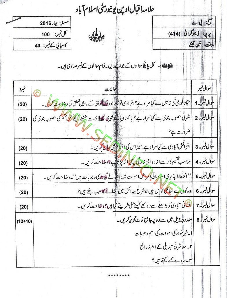 AIOU BA Code 414 Past Papers Spring 2016