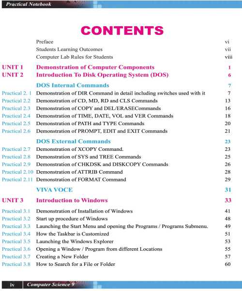9th-Computer-Practical-Book-contents-page