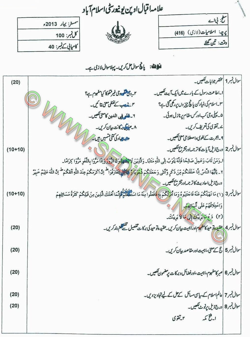 AIOU BA Code 416 Past Papers Spring 2013