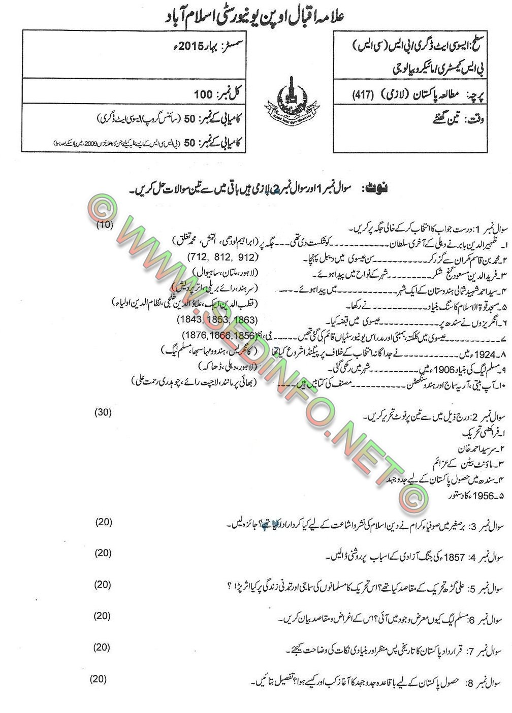 AIOU BA Code 417 Past Papers Spring 2017