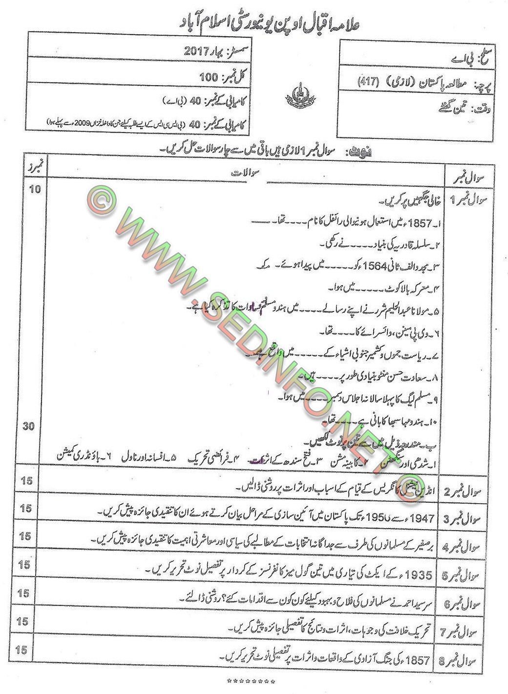 AIOU BA Code 417 Past Papers Sprin2017