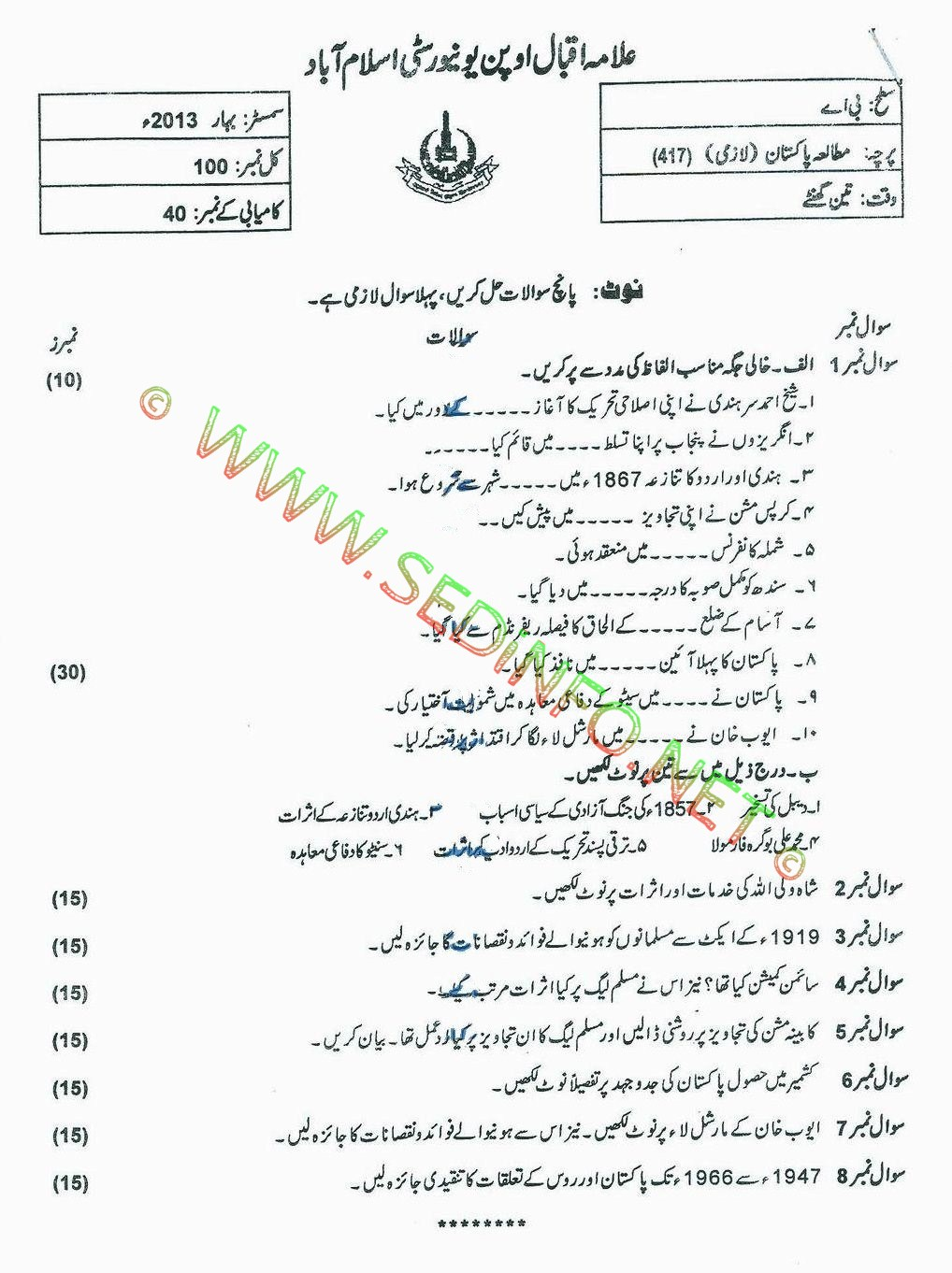 AIOU BA Code 417 Past Papers Spring 2013
