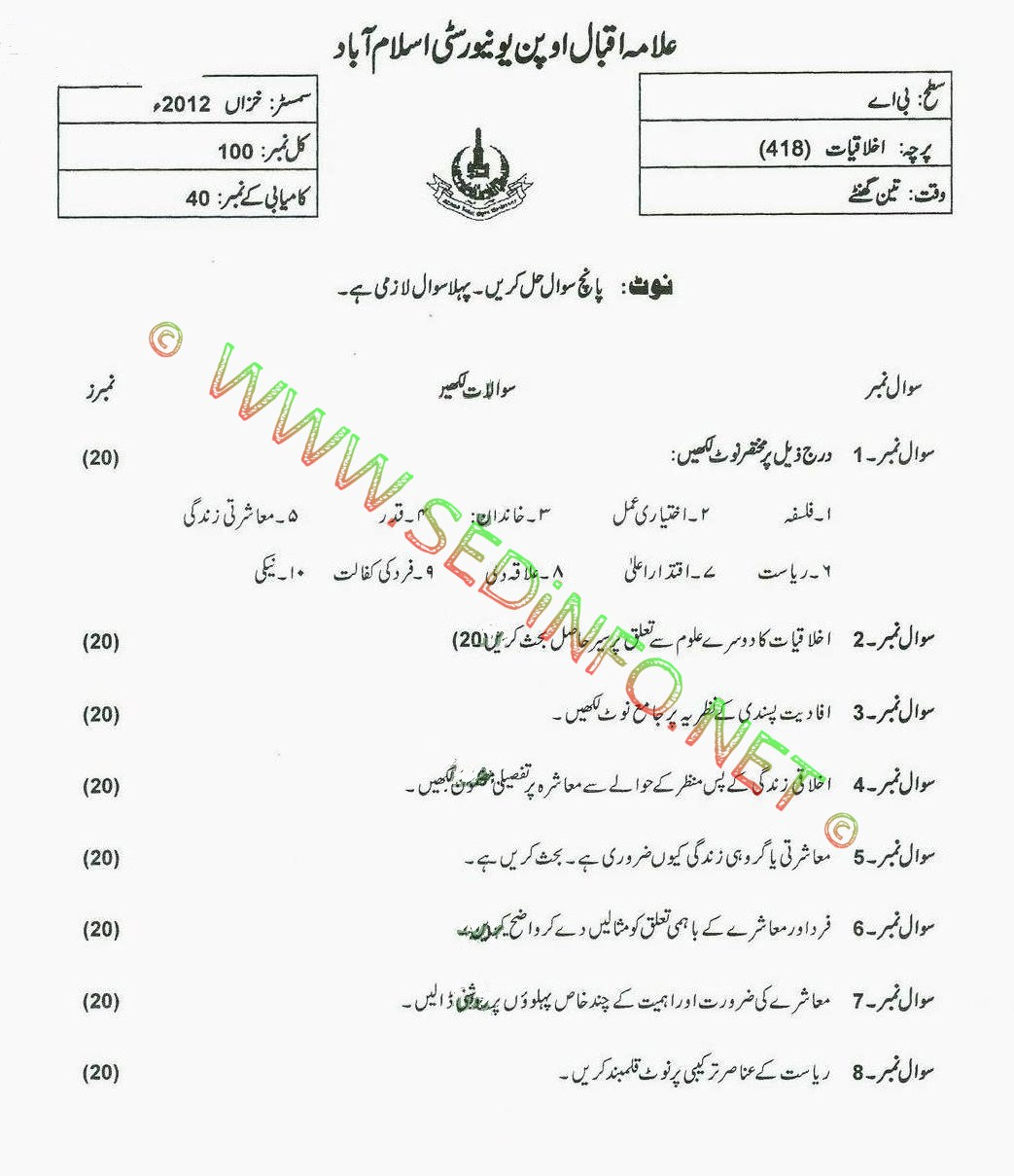 AIOU BA Code 418 Past Papers Autumn 2012