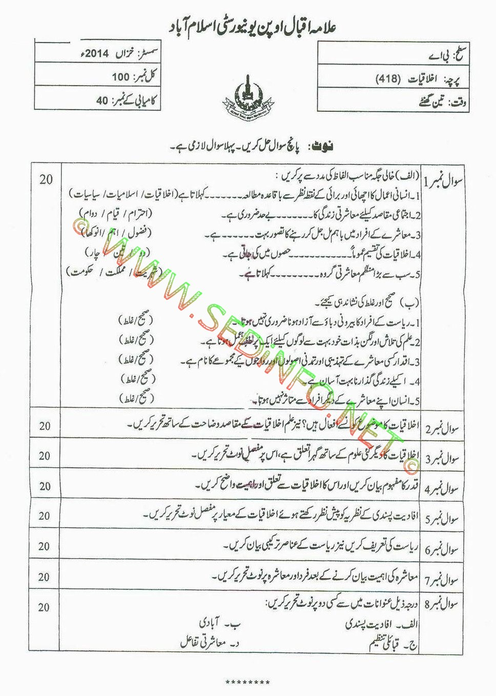 AIOU BA Code 418 Past Papers Autumn 2014