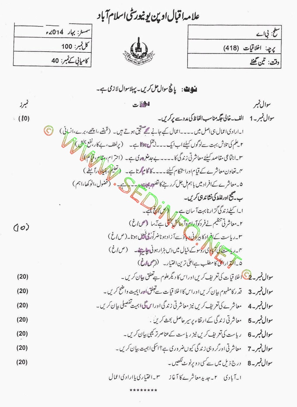 AIOU BA Code 418 Past Papers Spring 2014