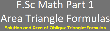 Download FSc Math Part 1 Area Triangle Formulas