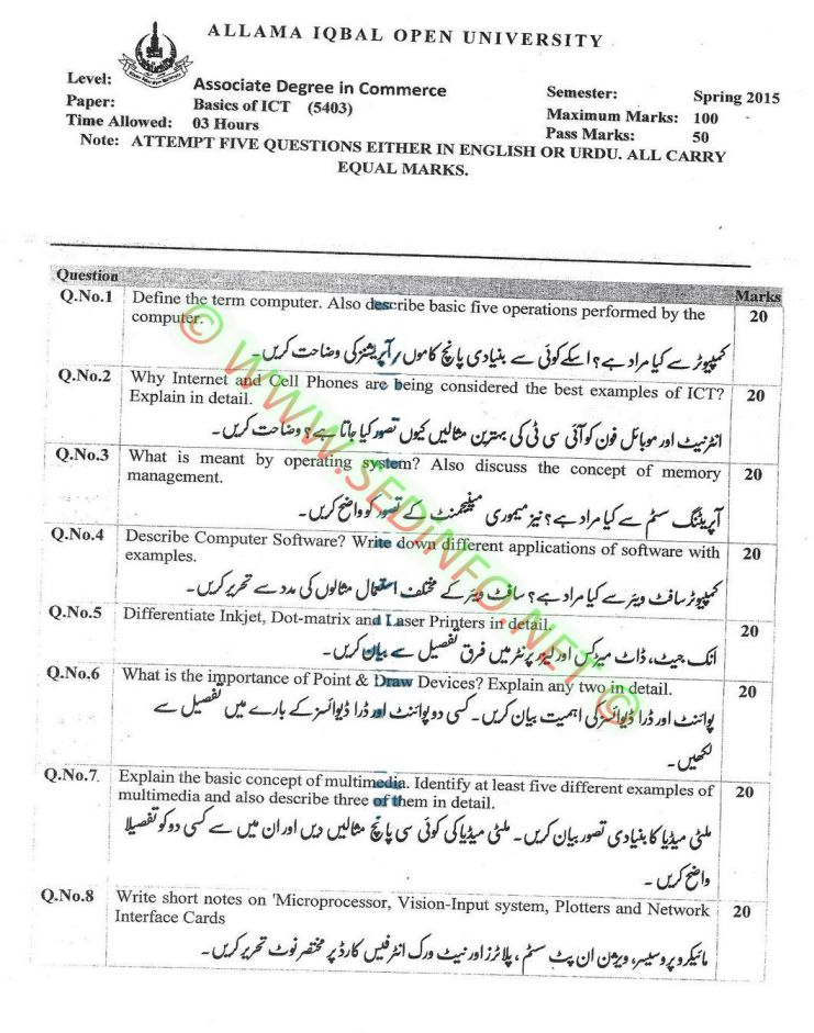 AIOU-BEd-Code-5403-Past-Papers-Spring-2015