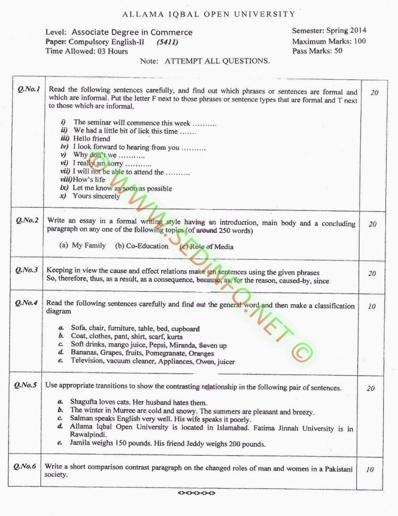 AIOU-BEd-Code-5411-Past-Papers-Spring-2014