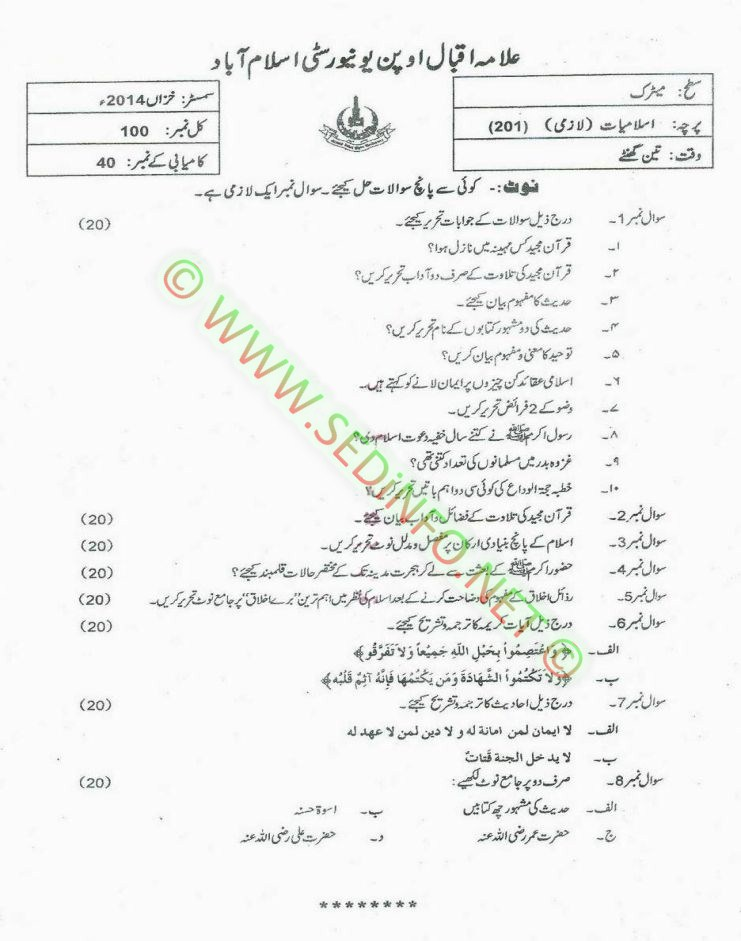 AIOU-Matric-Code-201-Past-Papers-Autumn-2014