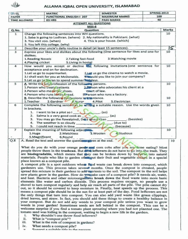 AIOU-Matric-Code-207-Past-Papers-Spring-2013