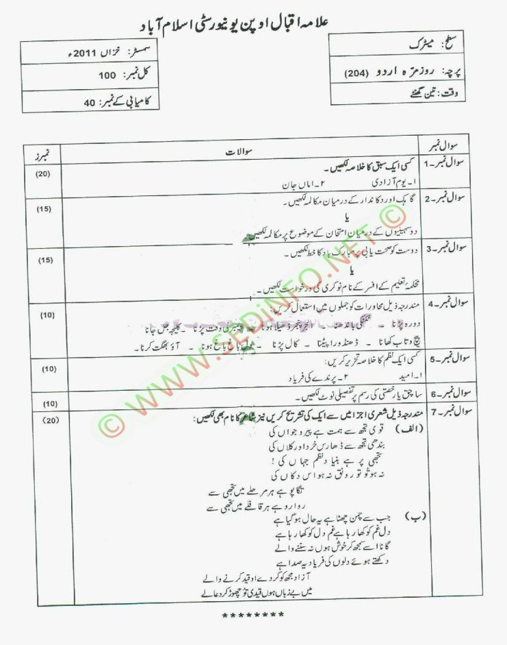 AIOU-Matric-Dars-e-Nizami-Code-204-Past-Papers-Autumn-2011