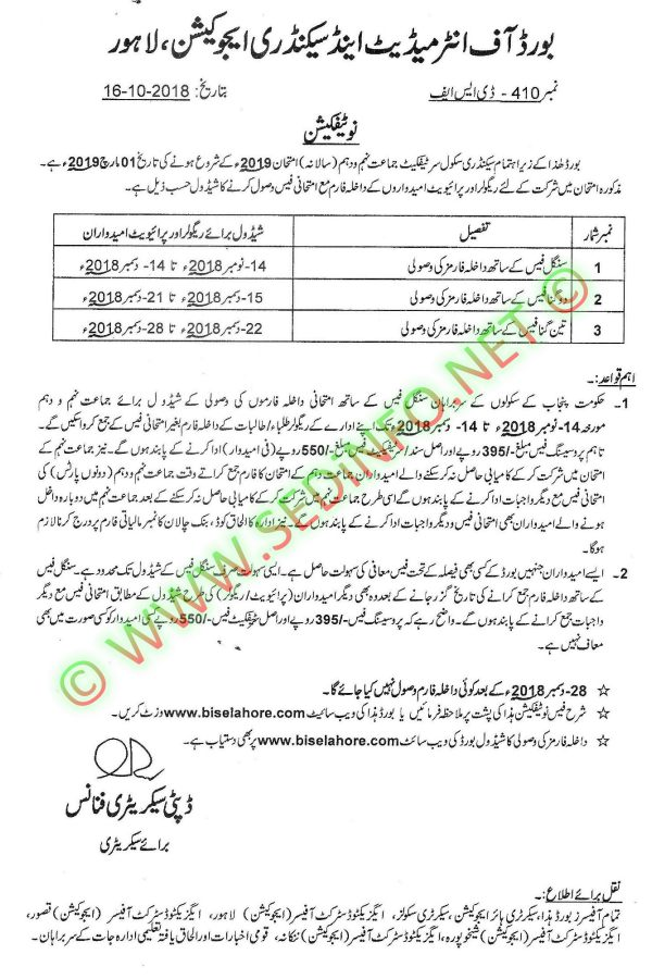 Admission Schedule SSC Annual Examination - 2019