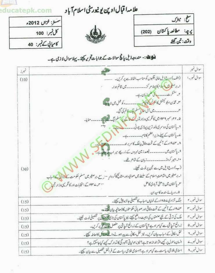 Autumn-2012-Code-202-Dars-e-Nizami-AIOU-Past-Papers