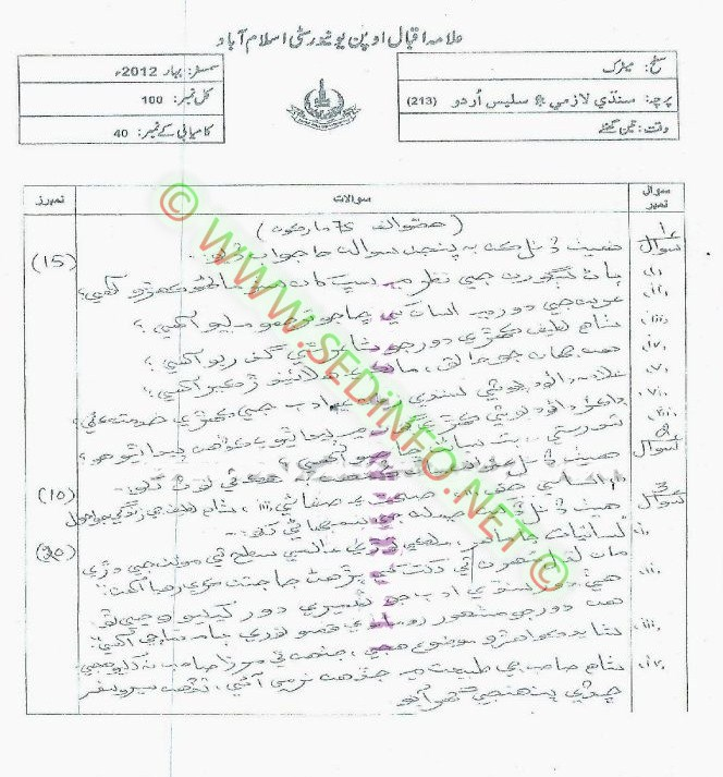 Matric-Code-213-AIOU-Past-Papers-Spring-2012