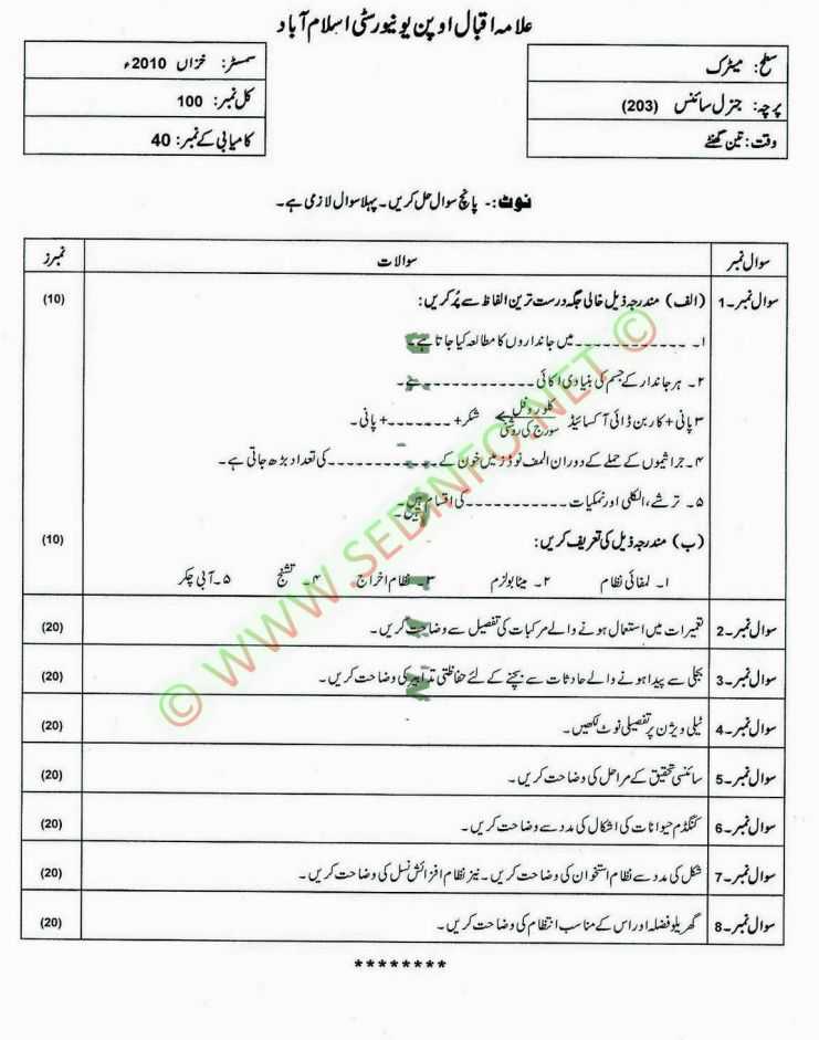 Matrict-Dars-e-Nizam-Code-203-Past-Papers-Autumn-2010