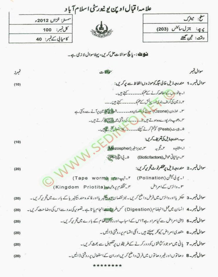 Matrict-Dars-e-Nizam-Code-203-Past-Papers-Autumn-2012