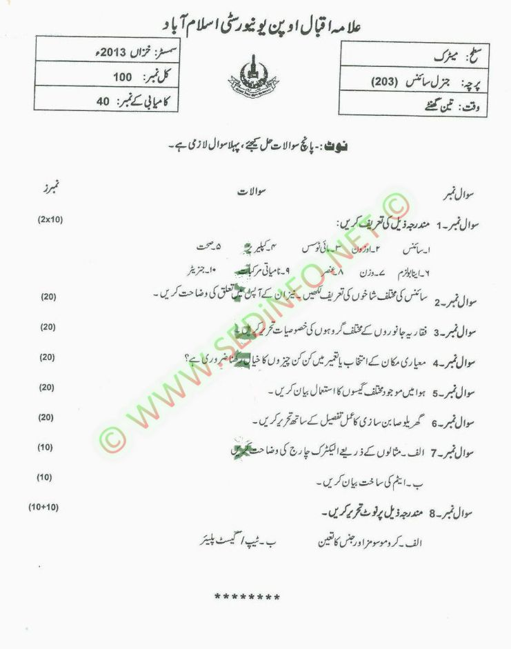 Matrict-Dars-e-Nizam-Code-203-Past-Papers-Autumn-2013