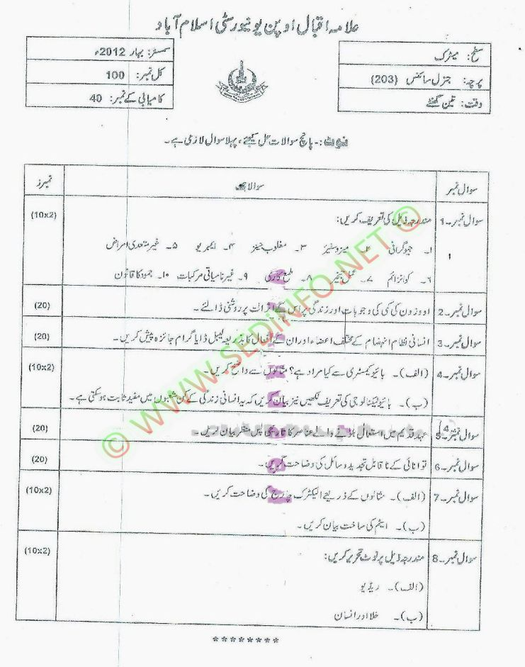 Matrict-Dars-e-Nizam-Code-203-Past-Papers-Spring-2012