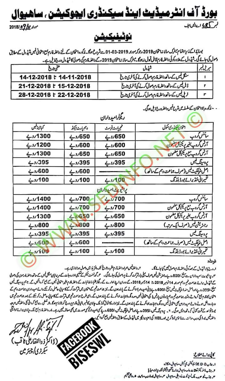 Sahiwal-board-matrict-admission-notice-2019