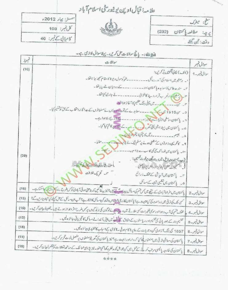 Spring-2012-Code-202-Dars-e-Nizami-AIOU-Past-Papers