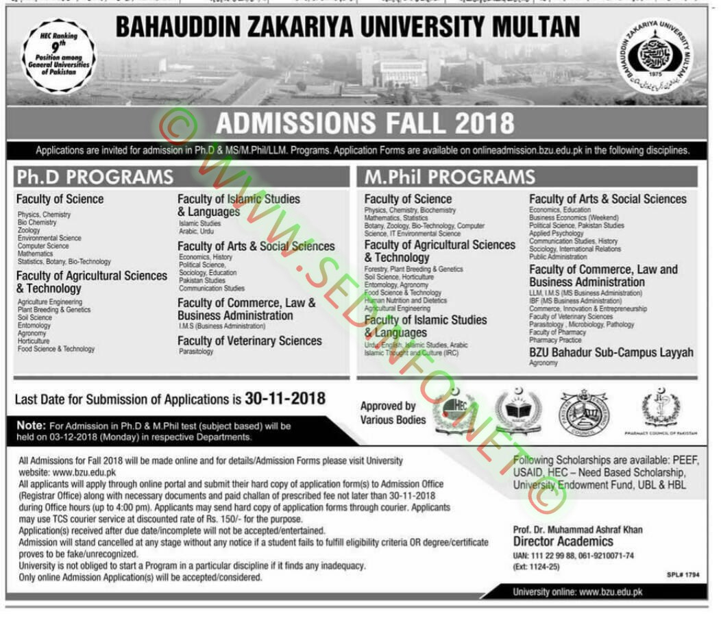 bzu-multan-phd-mphil-admission-fall-2018