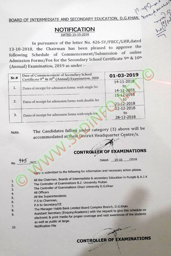 BISE DG Khan Matric Admission Schedule Annual Exam 2019