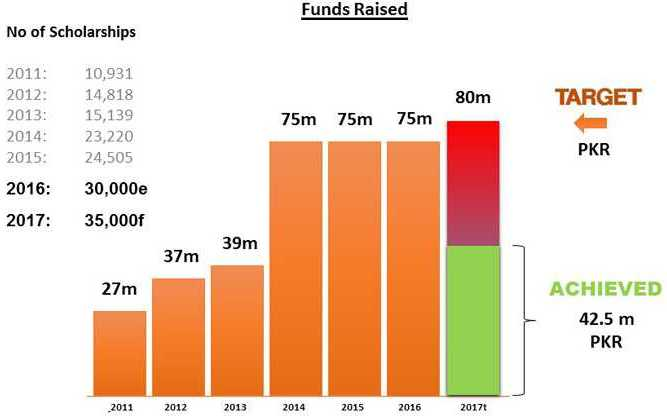 Diya Pakistan Donation and Scholarships Chart