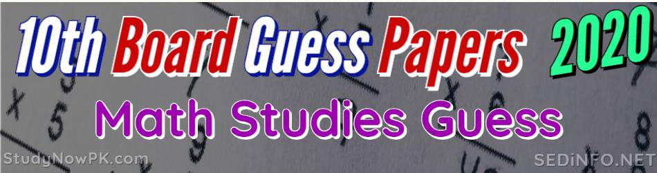 10th Math Guess Papers all Punjab Boards