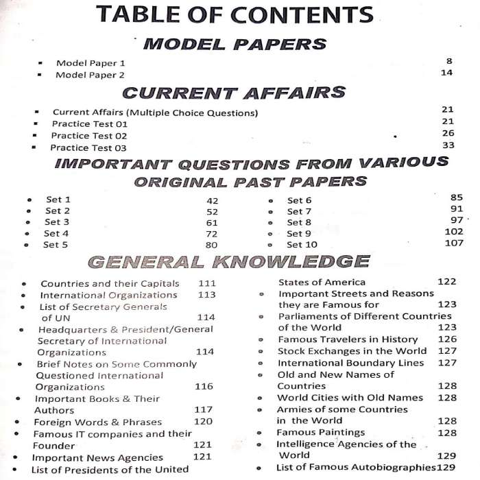 Assistant Guide Test Preparation Book contents page