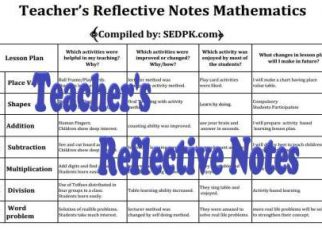 Teacher's Reflective Notes for Urdu English Math fi